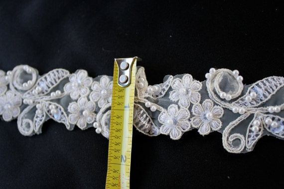 ivory beaded lace trim bridal trimming by the yard 1 5