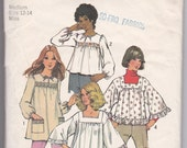 SALE 70s BOHO Tunic Top Blouse Smock Square Neckline Size Medium 12-14 Bust 34-36 Vintage Sewing Pattern Simplicity 5341Complete