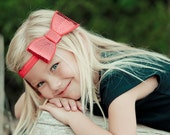 Sequin Bow Headband Large Red Bow on Red Elastic Headband Christmas Holiday Glitzy Shimmery