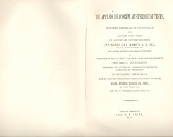 Mystery Cult of Isis. Apuleius. De Apuleio Isiacorum Mysteriorum Teste. 1900 Doctoral Dissertation In Greek and Latin. Disbound X-Library