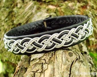 NIFLHEIM Sami Bracelet Lapland Reindeer Bracelet in Black Leather, Spun Pewter Silver Wire and Antler Button - Handmade Viking Jewelry