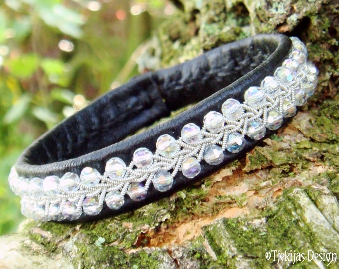 SKINFAXE Swedish Sami Lapland Bracelet - Custom Handmade in Silksoft Black Reindeer Leather with Braided Pewter and Swarovski Crystal Beads