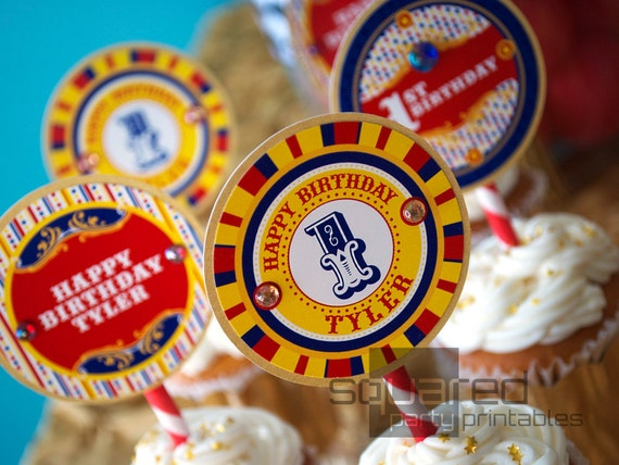 Vintage Circus Cupcake Toppers - Printable Carnival Birthday Party Circles & Logo Package - Primary Colors - DIY Print