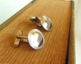 Vintage Sterling Swank Cuff Links Simple Circles 50's (item 38)