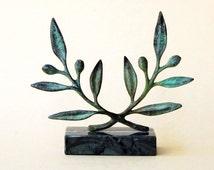 Olive Wreath Greek Bronze Sculpture, Metal Art, Museum Quality, Olive Tree Twig, Goddess Athena Symbol, Ancient Greece, Most Popular Item