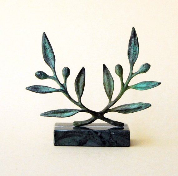 Olive Wreath Greek Bronze Sculpture, Metal Art, Museum Quality, Olive Tree Twig, Goddess Athena Symbol, Ancient Greece, Most Popular Item