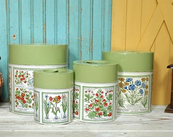 Vintage Kitchen Tin Canister Set Nesting Tins 4 Green Flowers Retro Garden Farm