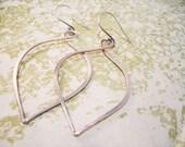 Hanging Petal Hoop Earrings // Sterling Silver