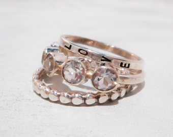 Astraea Ring in White Topaz, and Sterling Silver // Personalized