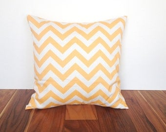 CLEARANCE 70% OFF Sherbet Orange Chevron Throw Pillow Cover. 16X16 Inches. Decorative Zig Zag Cushion Cover
