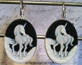 Earrings with a White Unicorn on a Black Colored Cameo on Lever Back Hooks