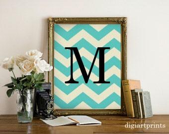 Monogram Art Print, Chevron initial, Modern Wall Decor, Chevron art print, Personalized, Turquoise