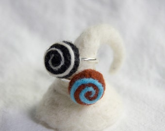Needle Felted Ring: Spiral - Adult or Child Adjustable sizes