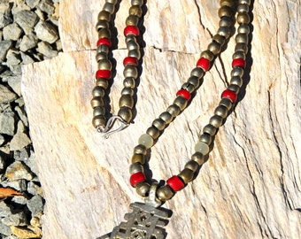 Necklace of Silver Islamic Prayer Beads,  Venetian (red) White Heart Beads and Ethiopian Coptic Cross.