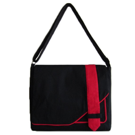 Unisex Messenger Bag with Flap and Strap in Black and Red