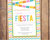 Fiesta Invitation with chevron and banner,party Invitation gender neutral blue pink orange yellow baby shower Invites (item184)