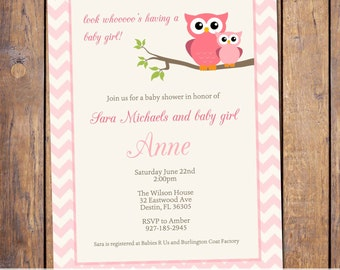 owl baby shower invitations, pink chevron baby shower invitation, owls, modern baby shower invitations, Digital, Printable file (item18a)
