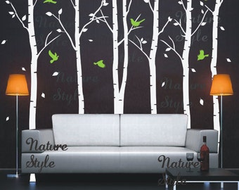 Birch tree wall decal baby boy girl birthday nursery wall decal wall mural flying birds decal room kids decal-6 Birch Tree with Flying Birds