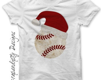 Christmas Iron on Transfer - Iron on Santa Hat Shirt / Toddler Santa Baseball Shirt / Baby Holiday Outfit / Christmas Sports Jersey IT307