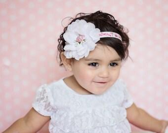 Princess Carriage Chiffon Flower Baby Headband Newborn Headband Photo Prop Pink White Headband- Newborn, Baby, Toddler, Child, Teen, Adult