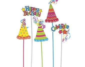 "Celebrate Party Hats ""Happy Birthday"" 12"" Floral Wooden PICKS Florist Stakes with Bow (Free Shipping!)"