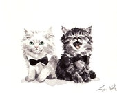 Black and White Kitties Giclee Print of Watercolor Cute Kittens Friends Cat BFF Furry Fluffy Brother Sister Cats