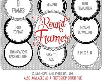 Round Frames Clipart, Circle Clip Art, commercial use ok, pretty digital frame circles for scrapbooking, card design, blogs, crafts