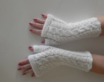White Fingerless Gloves, Arm Warmers, Hand Knitted Winter Gloves, Woman Accessories