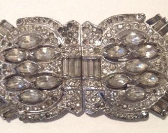 Art Deco Rhinestone Duette Brooch Dress Clips