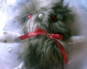 Furry Monster Bunny Plush (Brown Shaggy Faux Fur): Stuffed Yeti Rabbit with Blood Red Eyes & Bow and Mismatched Fleece Limbs. Hand Stitched