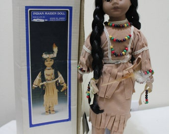 Vintage Indian Maiden Doll Ethnic Native American / Indian Doll - House of Lloyd - With Original Box