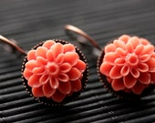 Tomato Orange Dahlia Flower Earrings. French Hook Earrings. Tomato Flower Earrings. Lever Back Earrings. Handmade Jewelry.