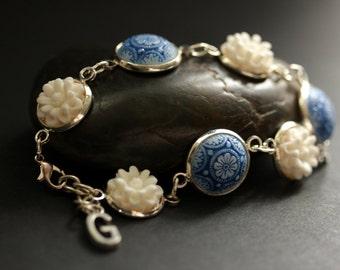 Baroque Flower Bracelet in Silver. Blue and White Flower Bracelet. Personalized Flower Bracelet. Handmade Bracelet.