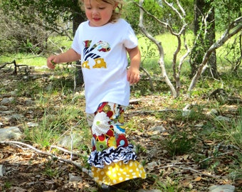 Cute Initial Top and Double Ruffle Pant Outfit, 0-3m to 8 years, Long or Short Sleeved