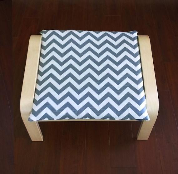 Ikea Algot Wall Upright Shelves ~ Poang Ottoman, Footstool Slipcover  Grey White Chevron, Ready to Ship