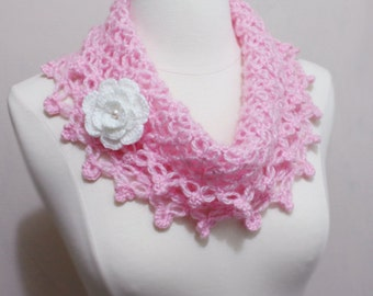 Sale-Lovely Crochet Net-Like Collar Cowl Neckwarmer Scarf with Flower