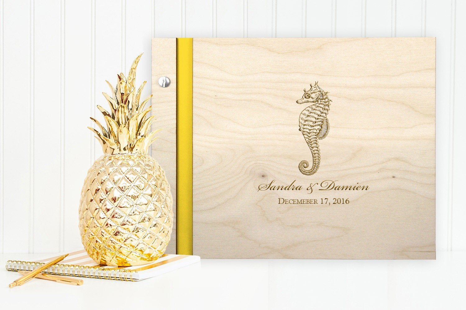 beach themed wedding wood guest book