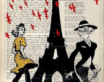 RED BIRDS   Print Poster Mixed Media Painting Wall Decor Wall hanging Paris