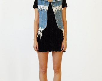 Vintage 90s Denim & Lace Vest *Free Shipping*