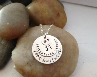 Football Mom Jewelry - Team Mom Jewelry - Hand Stamped Necklace - Personalized Team Necklace - Mother's Day