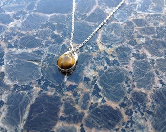 Tiger Eye Necklace, 8mm Tigers Eye Pendant in Sterling Silver, Solitary Stone Silver Necklace