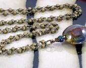 Lampwork Pendant long Necklace, Earthy Jewelry, Bohemian Jewelry
