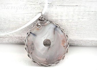 Silver pendant, statement pendant, pendant necklace, wire wrapped silver, milky white Agate, donut necklace, white necklace