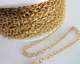 3 Ft Matte Gold Plated 3mm Brass Round Link Chain Ch207