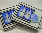 Handmade Greeting Card Set, Holiday Stationery, Christmas, Snow Covered Pine Trees, Embossed