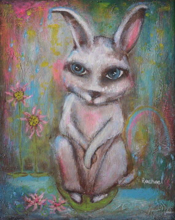 "Lotus Hopper 8x10"" Original Painting by Rachael Rose - Nursery Decor"