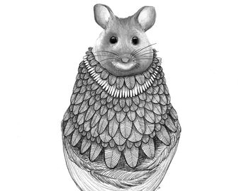 """The Gathering: The Mouse // 5""""x7"""" Art Print – Forest Illustration"""