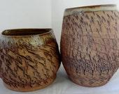 Ceramic Textured Vases, Rustic Ceramic Vase Set, Pair of Ceramic Vases, Brown Woodland Ceramic Vases, Textured Brown Vases, Ceramic Vase Set