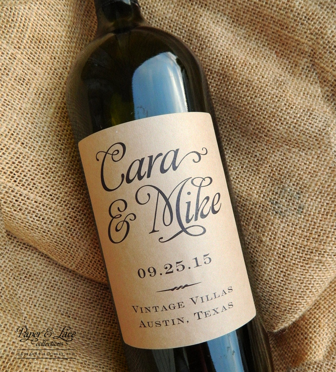 Custom Wine Labels For Wedding Gift : Personalized Wedding Wine Labels Favor by paperandlaceaustin