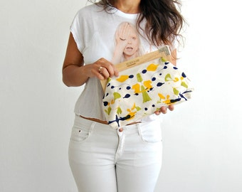Hand painted clutch, Vegan bag, painted canvas bag, blue and green